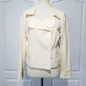 Banana Republic Tweed Moto Blazer Cream sz 6 NEW
